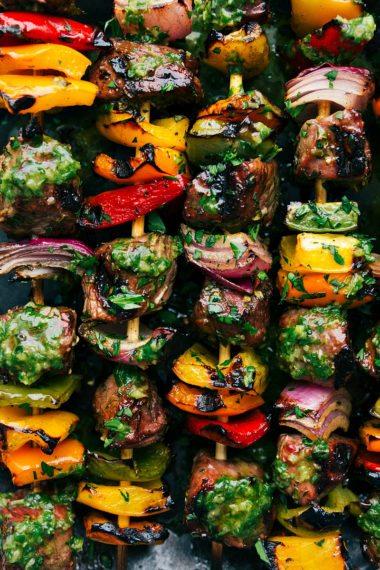 Steak Kebabs with a Basil Sauce