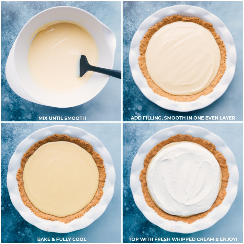 Process shots of the lemon pie-- images of the filling being added to the crust and whipped cream being added on top