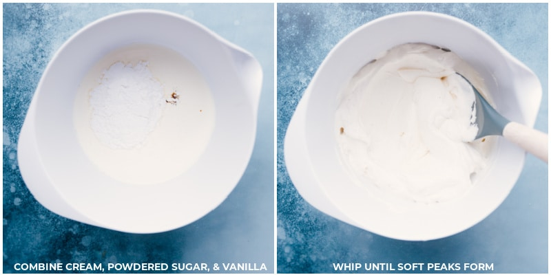 Process shots-- images of the whipped cream being whipped together