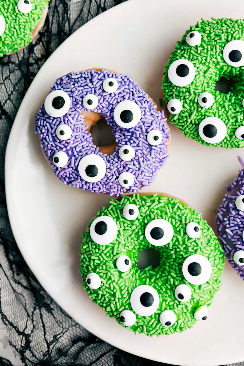Overhead image of the monster Halloween Donuts on a plate.