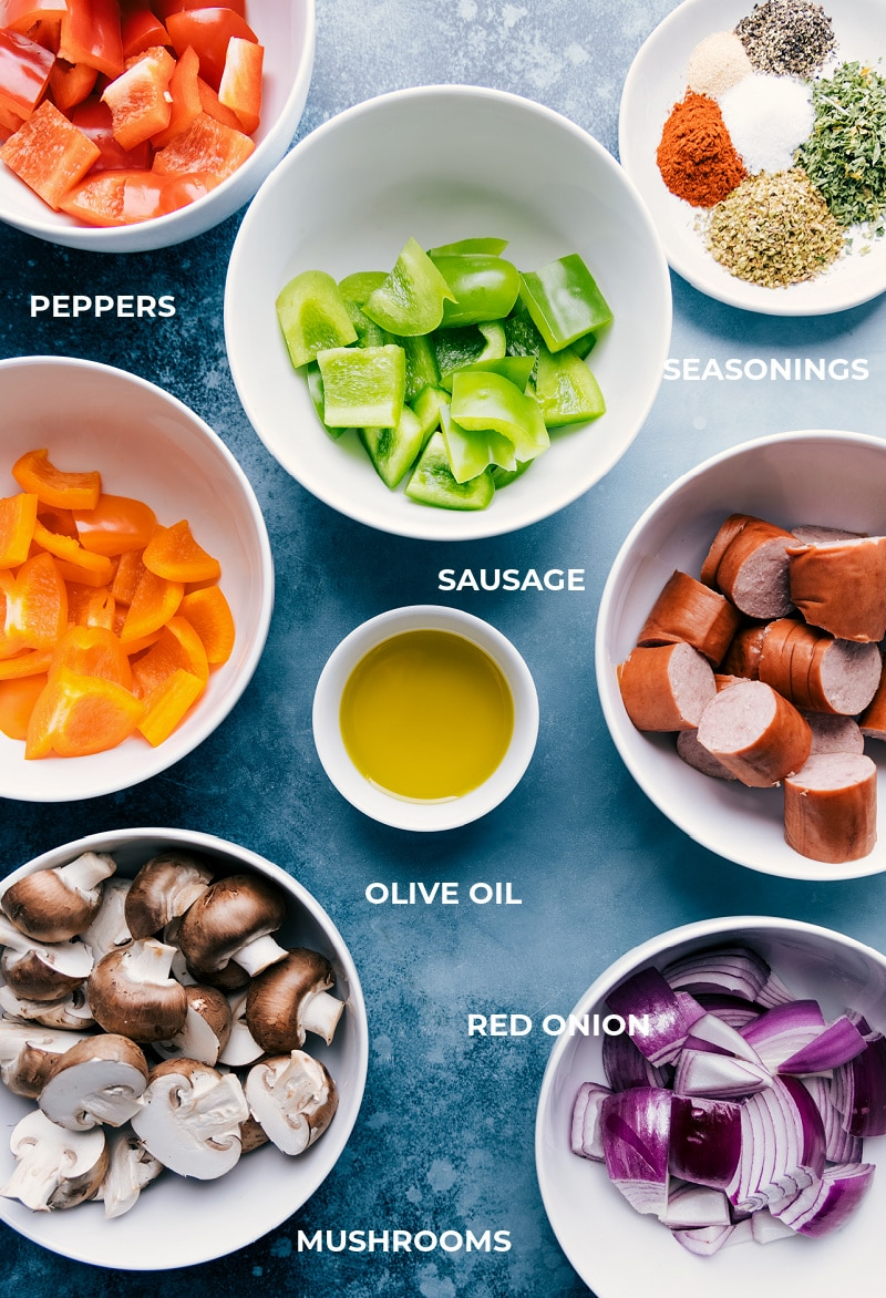 Ingredient shot-- images of all the ingredients that go on these sausage kabobs