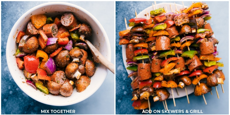 Process shots--veggies and sausage being mixed together; threaded on skewers to grill