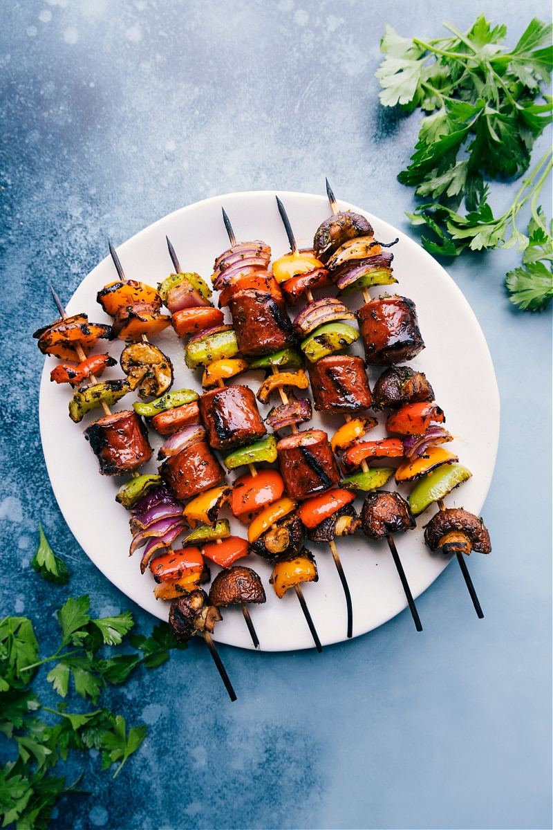 Overhead image of the sausage kabobs on a plate