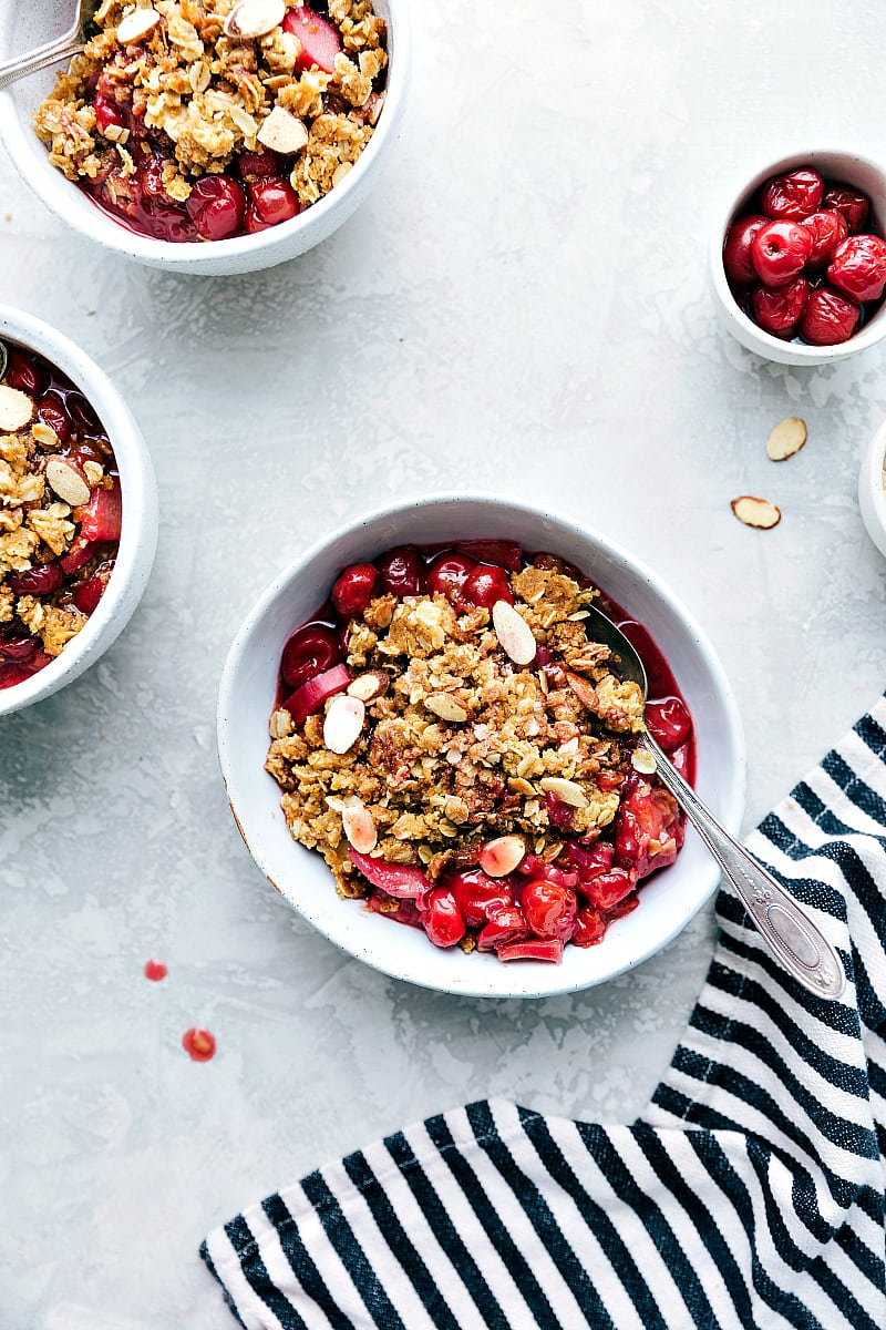A delicious and simple tart cherry and rhubarb crisp
