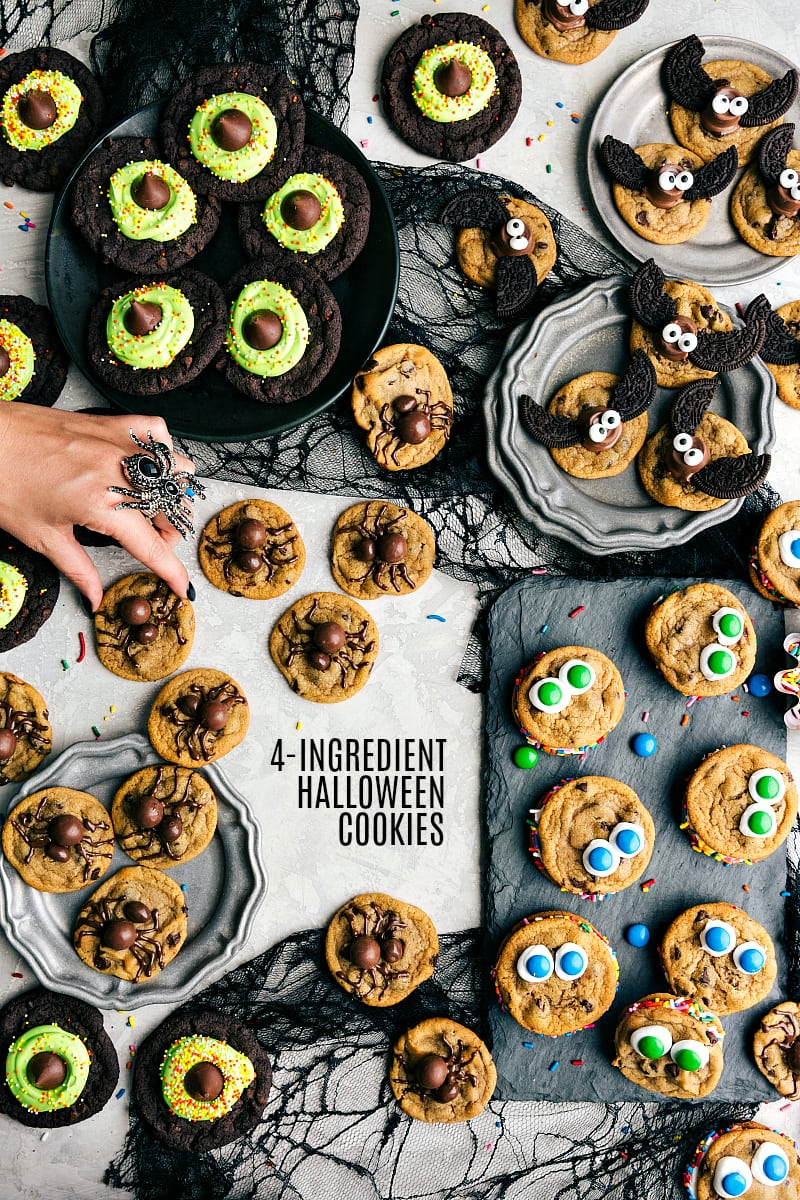 Overhead photo of Halloween Cookies. Only 4-ingredients to make these festive, fun, and most importantly DELICIOUS Halloween cookies! Plus instructions if you want to make these cookies from scratch ?