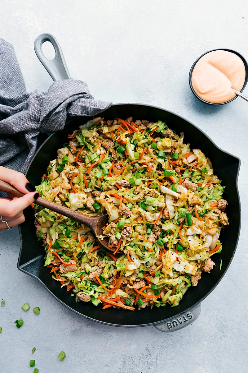 Shot of a ground turkey recipe stir fry in a skillet