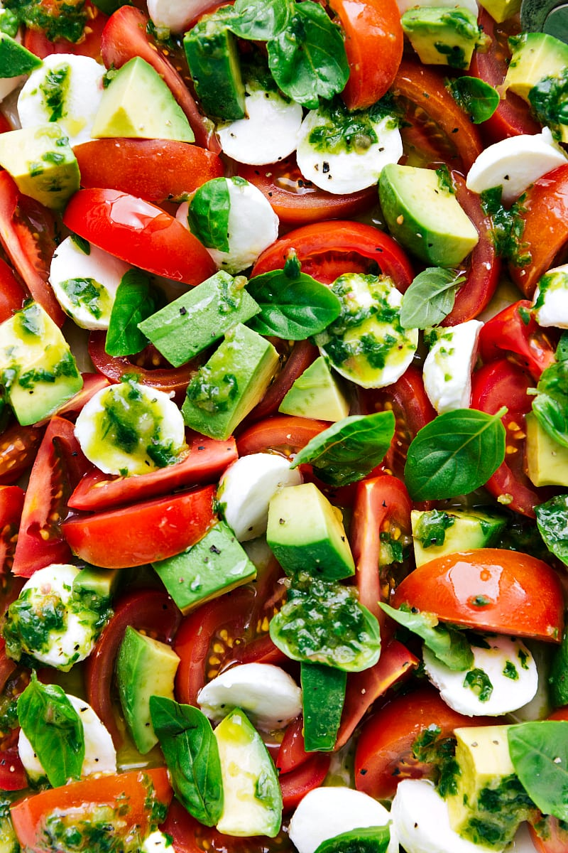 Overhead shot of caprese salad