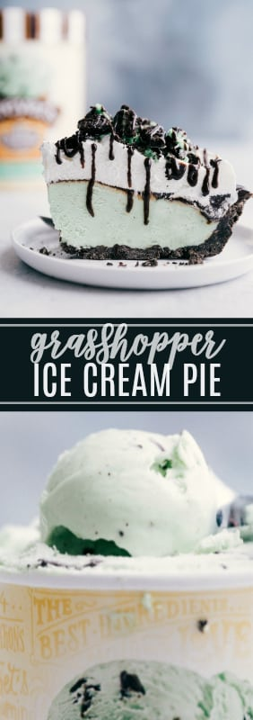 Only 6 ingredients to make this delicious and refreshing ice cream pie -- the perfect summer treat! via chelseasmessyapron.com #icecream #summer #dessert #easy #quick #oreo #cookie #quick #simple #desserts #fudge #hot #oreocrust