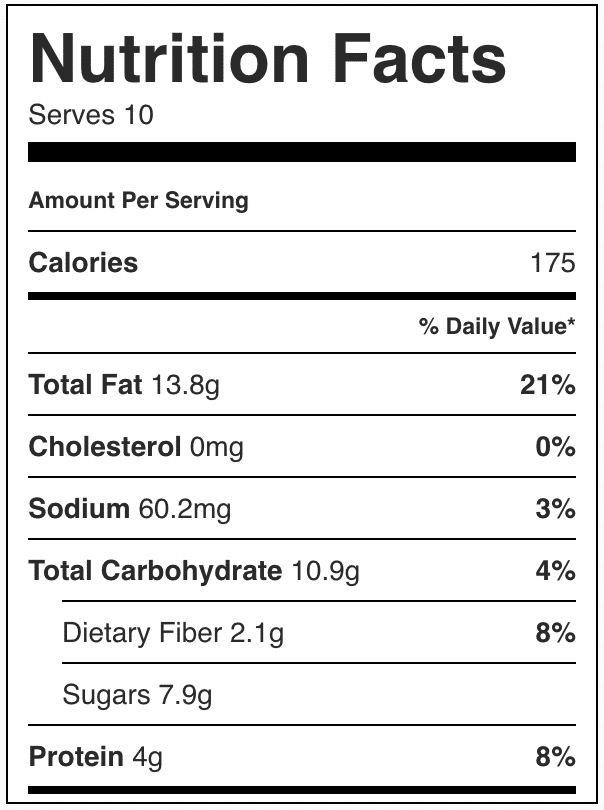 Nutrition facts in almond coconut protein bars