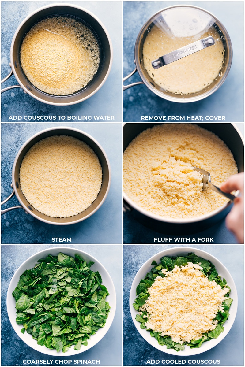 Process steps: making couscous and adding it to chopped baby spinach