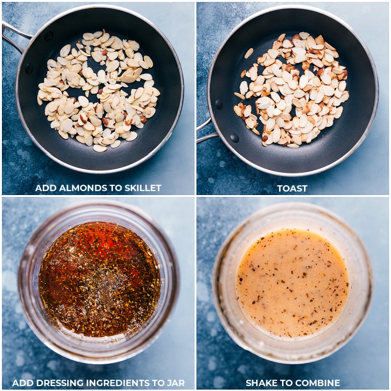Process shots: toasting almonds and making the dressing.