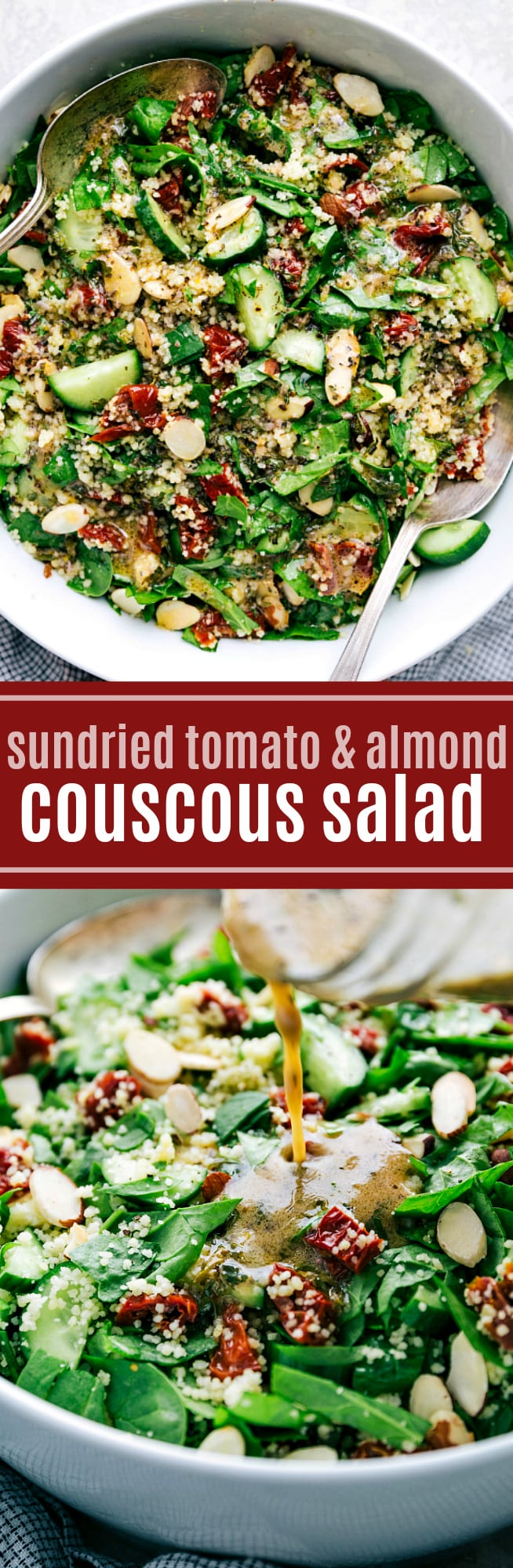 A delicious, flavor packed, and healthy couscous salad with sun dried tomatoes, toasted almonds, and cucumber dressed in a flavorful lemon vinaigrette via chelseasmessyapron.com #salad #couscous #healthy #spinach #easy #lemon #dressing #quick #simple #summer #potluck #mealprep #best