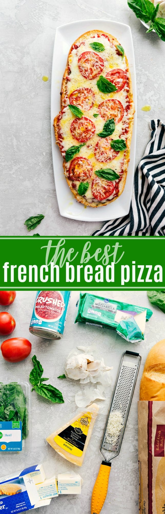 The ultimate BEST EVER French Bread Pizza! via chelseasmessyapron.com #margherita #pizza #dinner #basil #fresh #healthy
