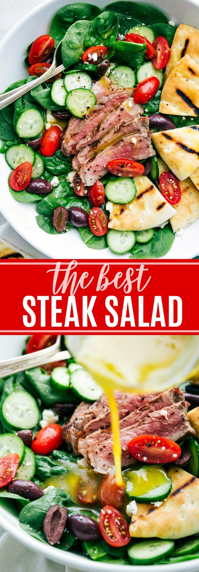 Grilled steak and pitas tossed with baby spinach, cucumbers, tomatoes, kalamata olives, and feta cheese dressed in a delicious lemon-honey vinaigrette. This steak salad is simple to make, healthy, and packed with flavor! via chelseasmessyapron.com