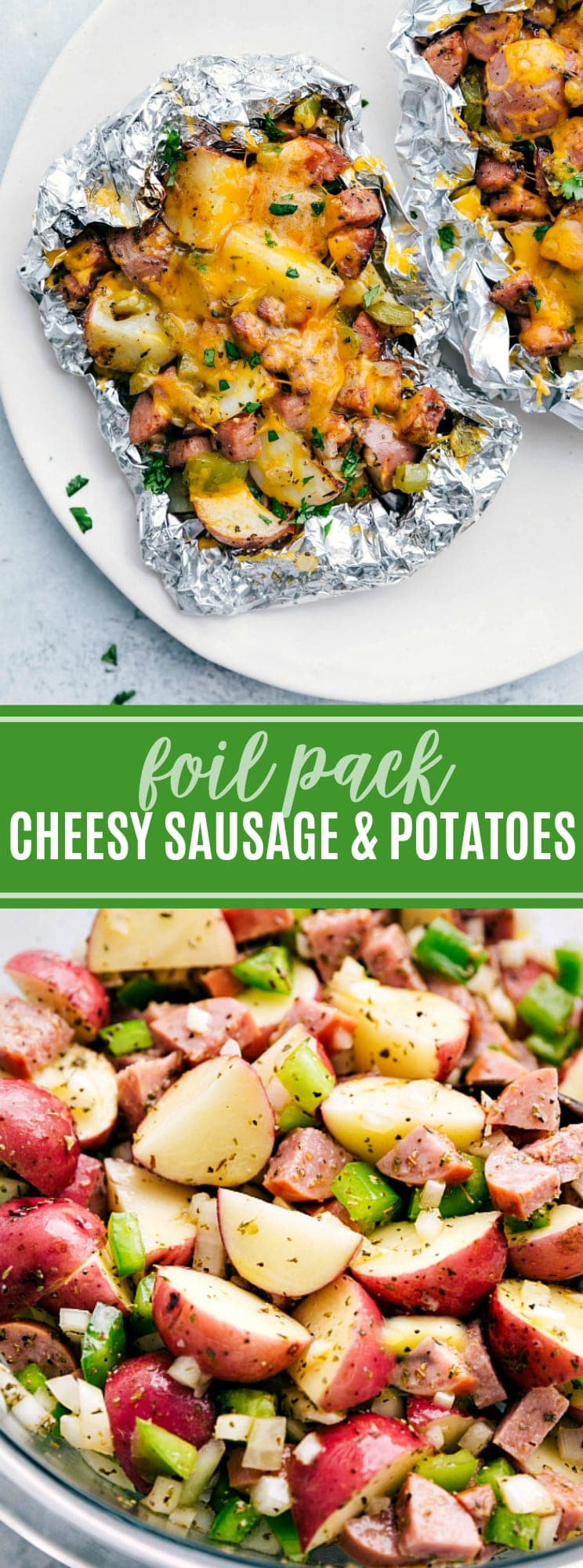 Easy and delicious veggie-packed tin foil packets! Perfect for the campfire, grill, or oven! via chelseasmessyapron.com #foil #pack #tinfoil #tin #cheese #cheesy #breakfast #camping #camp #dinner #easy #quick #foilpack #sausage #potatoes #onion #hotsauce #tabasco #simple #kidfriendly #pepper #onion