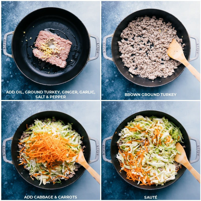 Process shots--ground turkey being cooked; the cabbage and carrots being added on top and sautéed