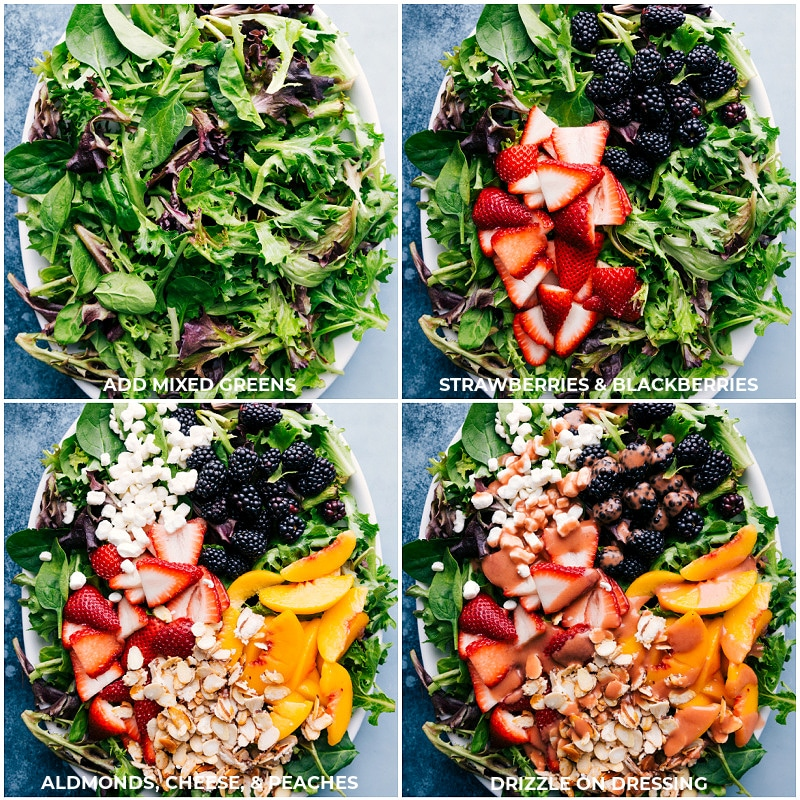 Process shots: creating a fruity tossed salad to be topped with Strawberry Balsamic Vinaigrette.