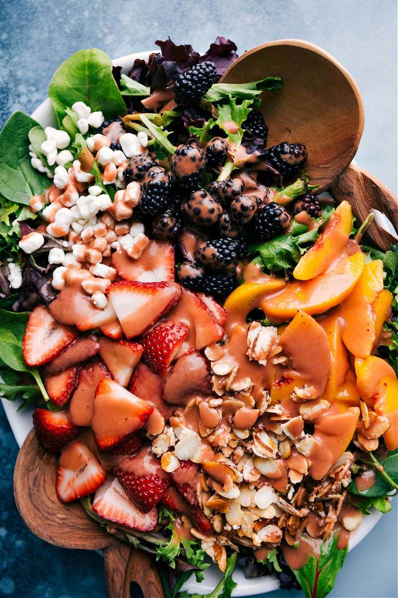 Overhead image of the Strawberry Balsamic Dressing on a salad