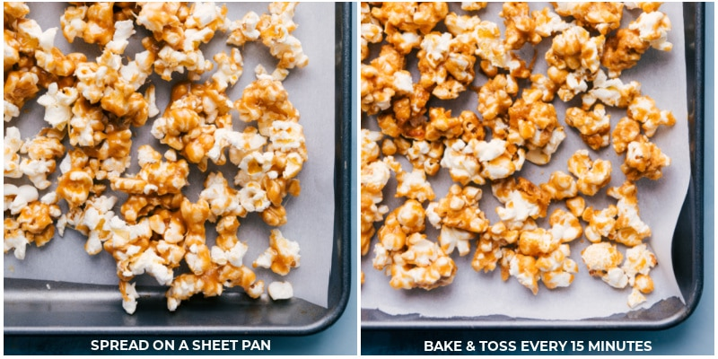 Process shots-- images of Chocolate Popcorn being added to a sheet pan