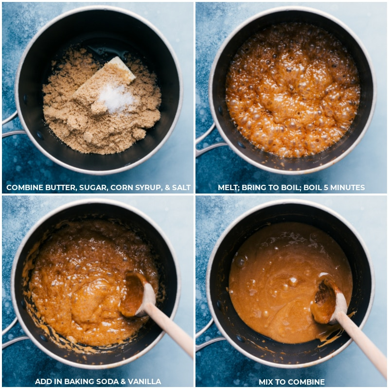 Process shots-- images of the caramel sauce being made