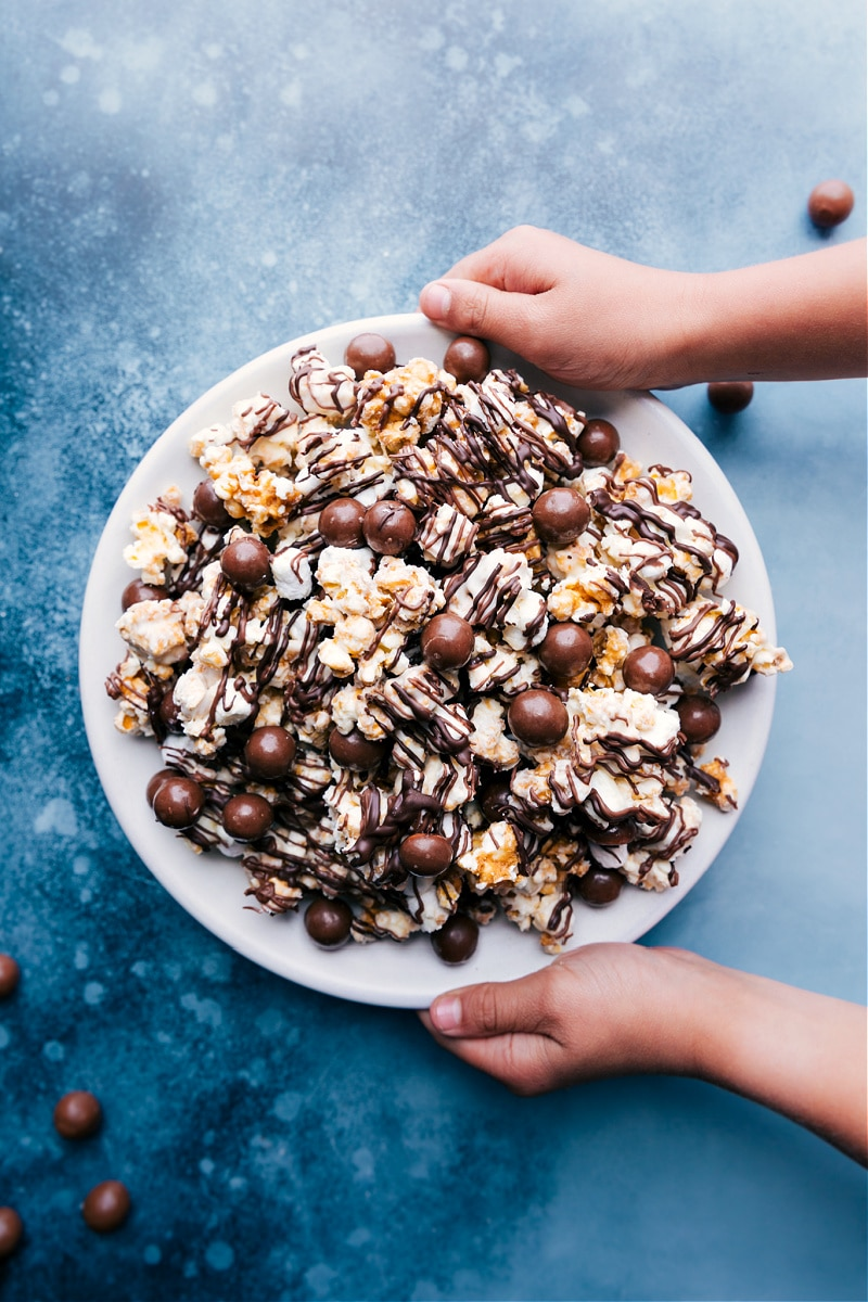 Chocolate Popcorn in a bowl