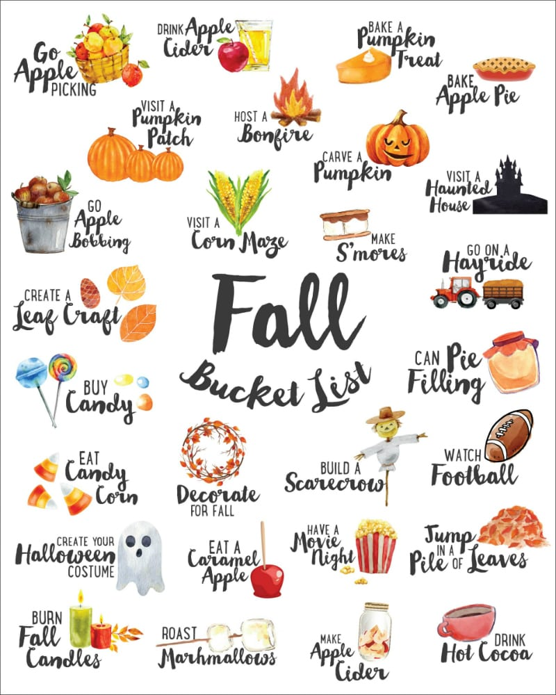 Picture of a Free Printable Fall Bucket List