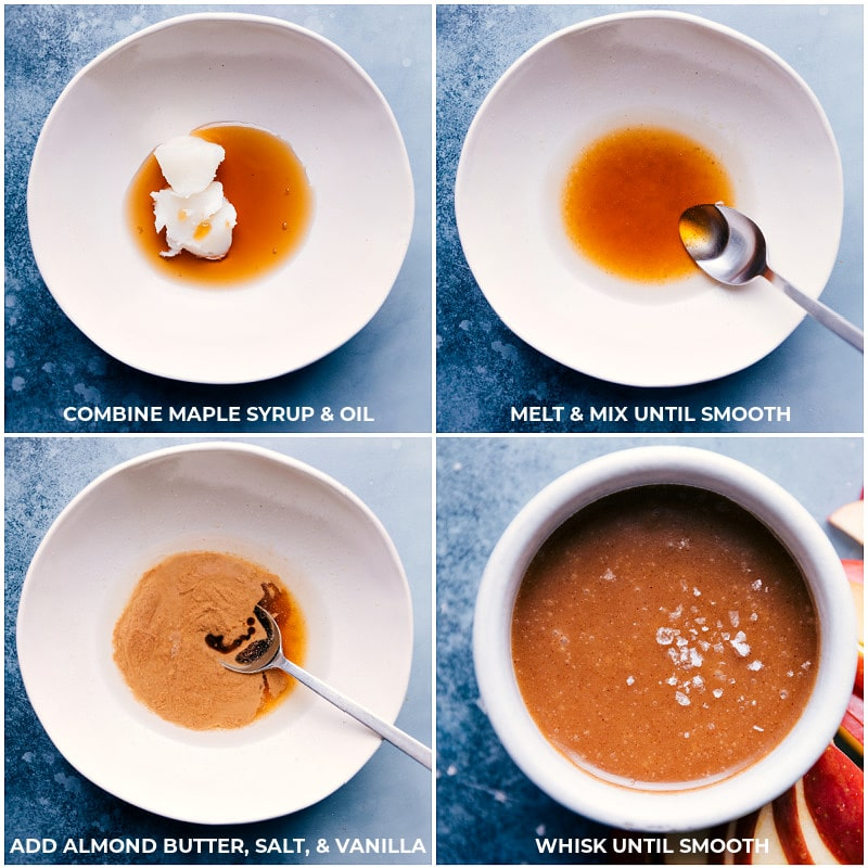 Process shots--melting oil and maple syrup; adding in the almond butter, salt, and vanilla