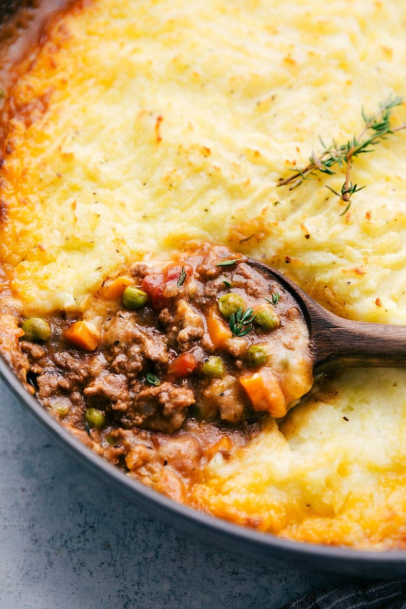Up close shot of a spoon with a scoop of Shepherd's Pie casserole