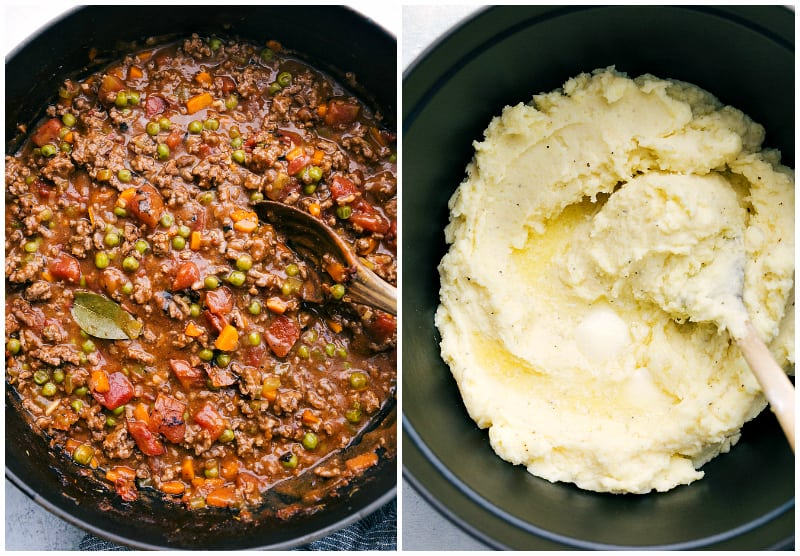 Side by side photos of the process of making Shepherd's Pie