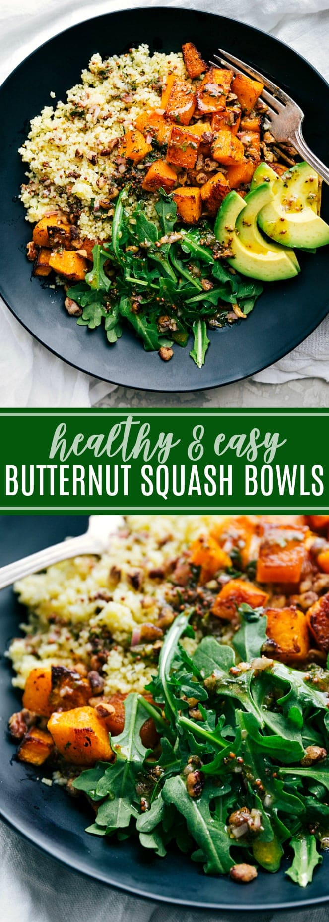 A feel-good roasted veggie dinner! You won't miss the meat in these roasted butternut squash couscous bowls with pecans, avocado, couscous, and a delicious sauce. This post will teach you how to roast the PERFECT butternut squash! via chelseasmessyapron.com #perfect #tried #tested #easy #roasted #butternut #squash #best #quick #simple #vegetarian #meal #dinner #fall #recipe #healthy #avocado #arugula #dressing