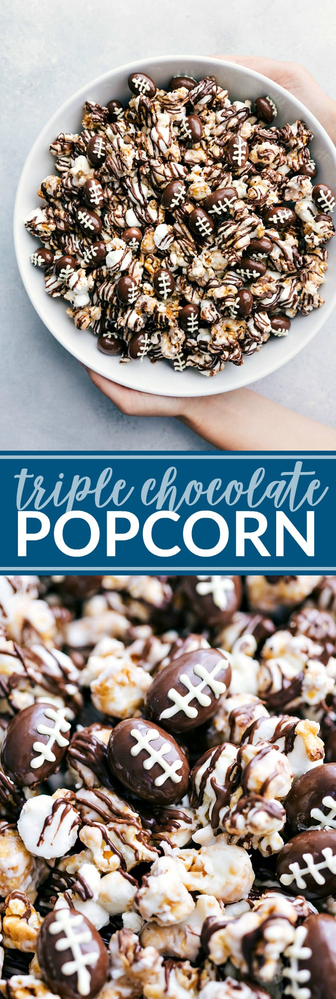 The ultimate BEST EVER triple chocolate popcorn with optional chocolate covered almond footballs! This recipe is from a famous Cleveland bakery and everyone always BEGS for thie recipe! Video tutorial and step by step directions! via chelseasmessyapron.com #dessert #triple #chocolate #popcorn #easy #quick #treat #football #tailgaiting #party #potluck #kidfriendly #chocolate #dark #white #milk #sugar