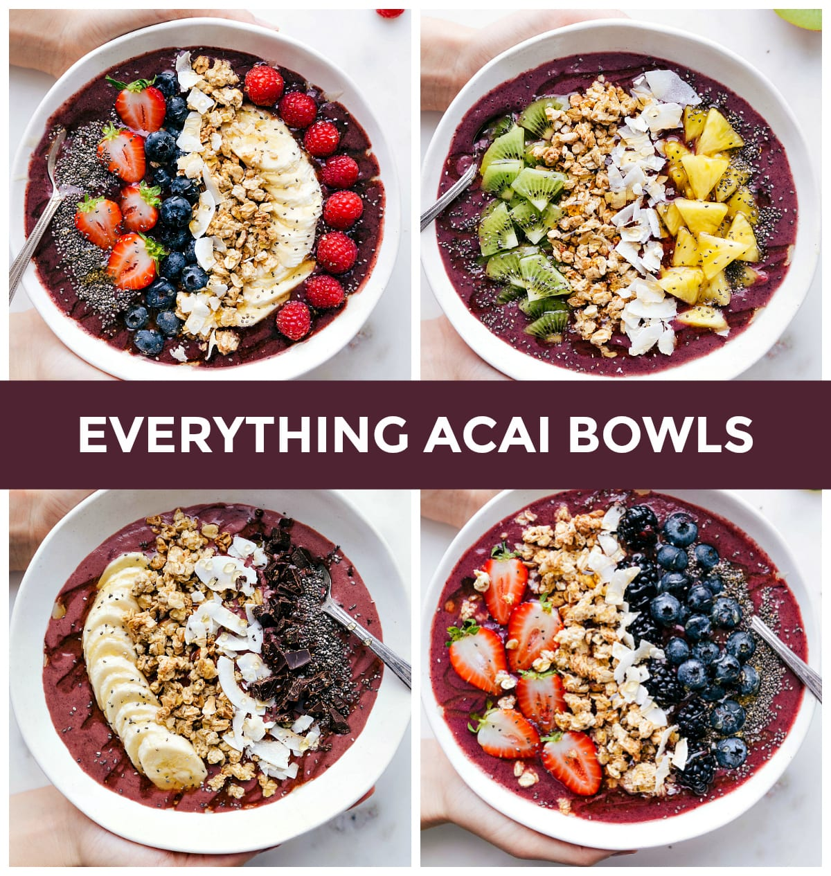 "4 overhead photos of acai bowls: standard acai bowl and 3 variations. text across that reads ""everything acai bowls"""