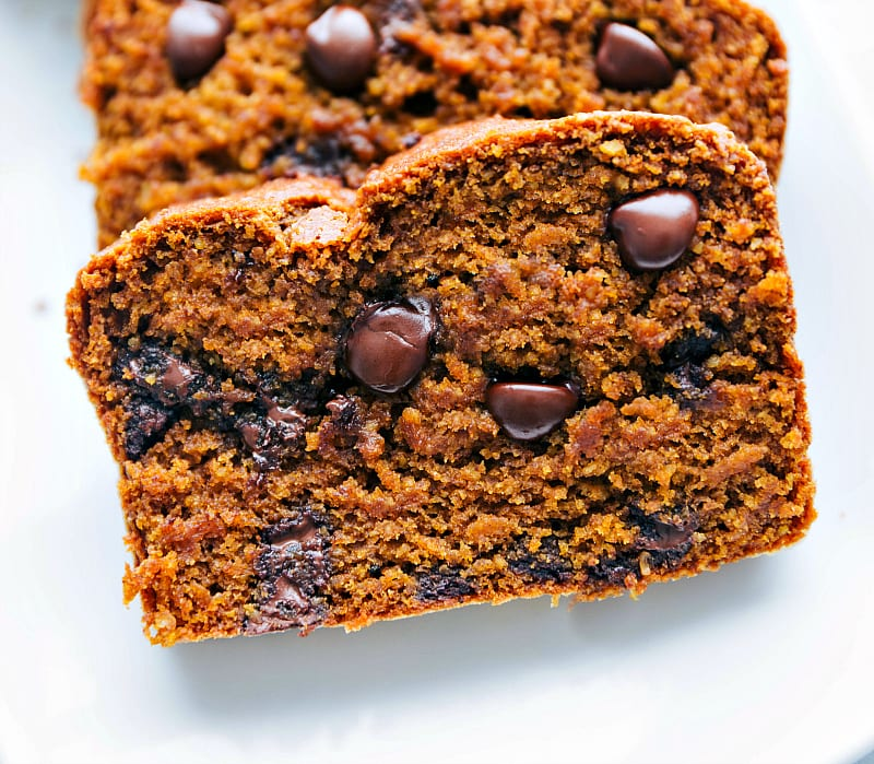 Photo of a slice of Healthy Pumpkin Bread