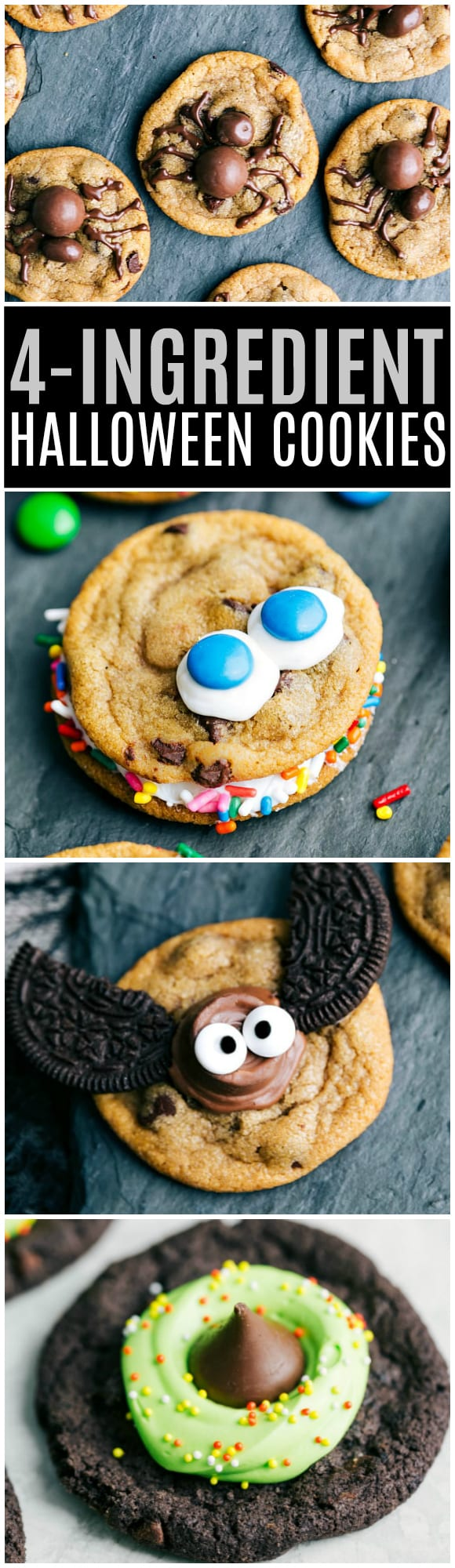 FOUR Halloween Cookies with only FOUR ingredients each!! Spider, monster, bat, and witch hat cookies are the perfect easy (and great last minute) Halloween treat via chelseasmessyapron.com #halloween #treat #cookie #cookies #bat #witch #hat #spider #monster #easy #kidfriendly #cute