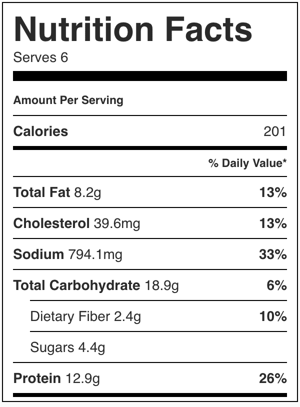 Nutrition Facts for Crockpot Cowboy Casserole