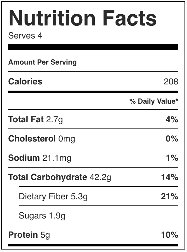 Nutrition Facts for Crockpot Cheesy Potatoes