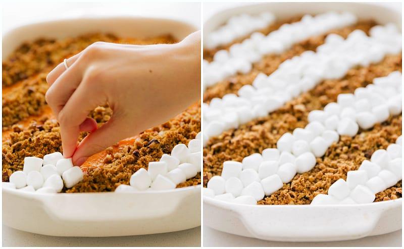 Process shots of making the sweet potato casserole recipe - marshmallows being added on