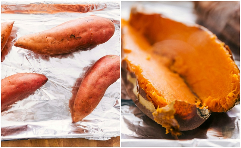 Process shots of sweet potato casserole recipe -- showing the potatoes being baked and then flesh scooped out