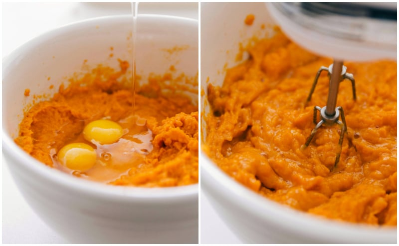 Process shots of making an easy sweet potato casserole -- base is being beat together