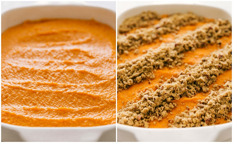 Process shots of making the sweet potato casserole recipe - base smoothed in pan and pecan streusel sprinkled over top