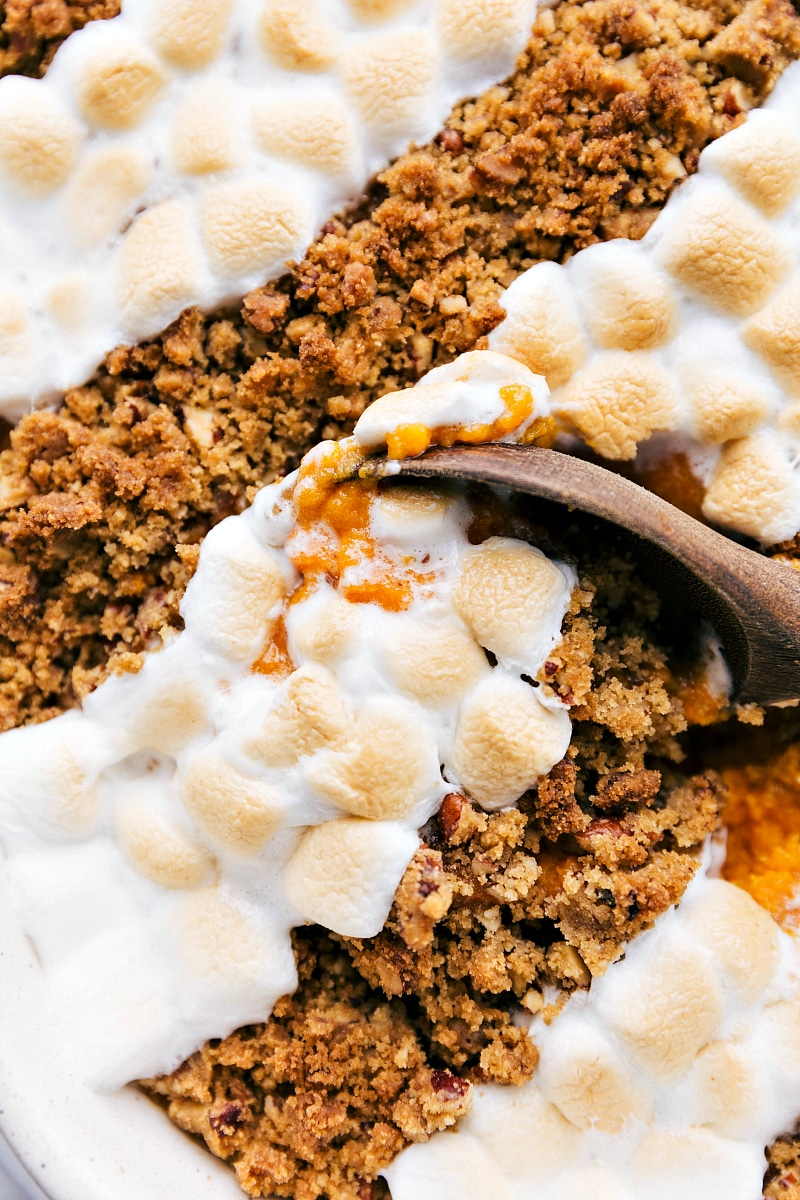 Overhead shot for sweet potato casserole -- close up showing a spoon digging in!