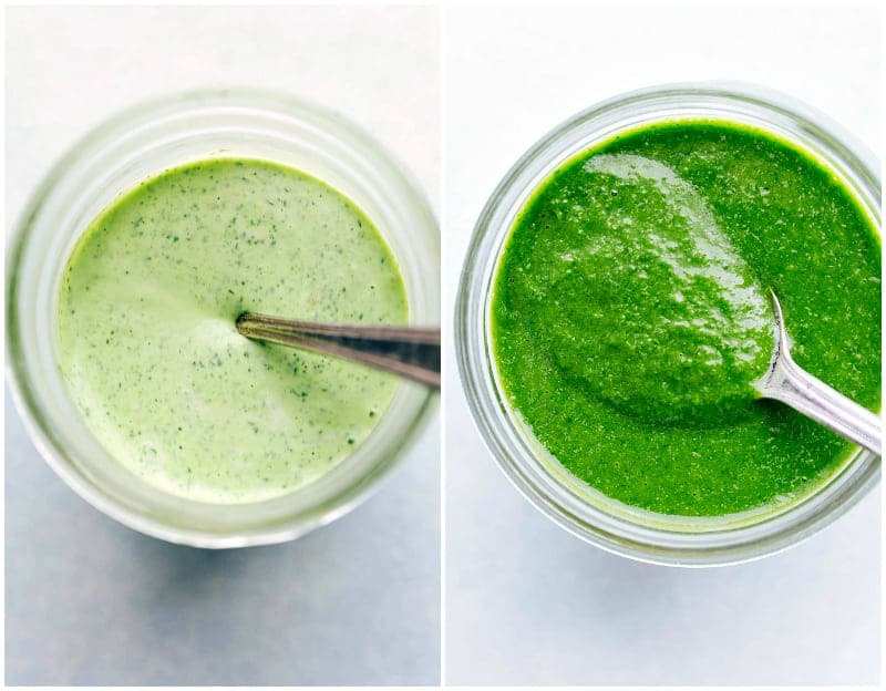 Overhead shot of 2 side-by-side dressings for the vegetarian tacos