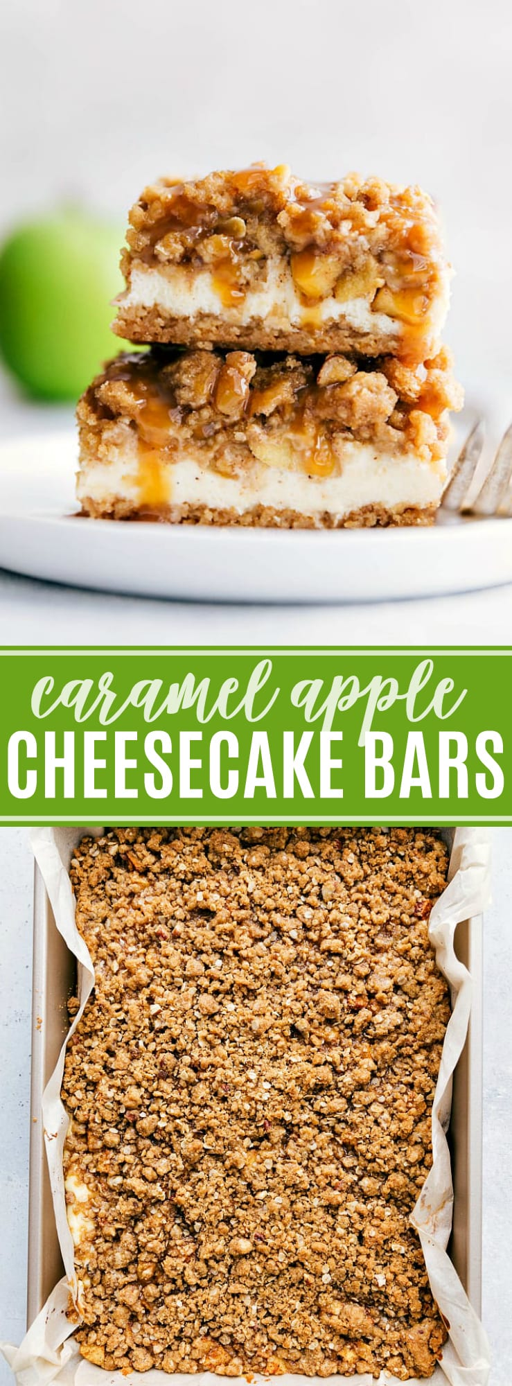 The ultimate BEST EVER caramel apple cheesecake bars with a streusel topping! The most AMAZING Fall dessert! via chelseasmessyapron.com #apple #cheesecake #bar #bars #fall #shower #bridal #baby #dessert #easy #caramel #caramelapple #sweet #streusel #dessesrts