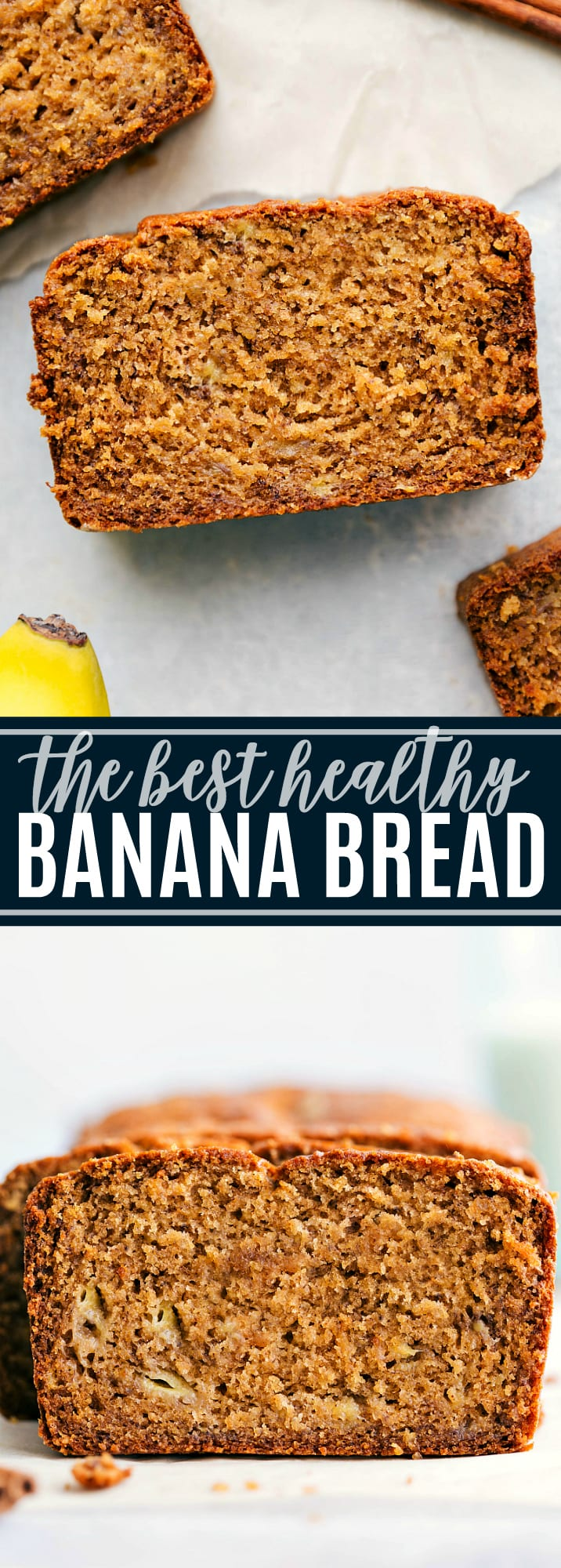 This is the best healthy banana bread is bursting with flavor and made with tons of healthy ingredient swaps. This healthy banana bread with yogurt can be made with or without chocolate chips and/or nuts! via chelseasmessyapron.com #healthy #banana #bread #easy #quick #calorie #kidfriendly #best #ever #recipe #greek #yogurt #delicious