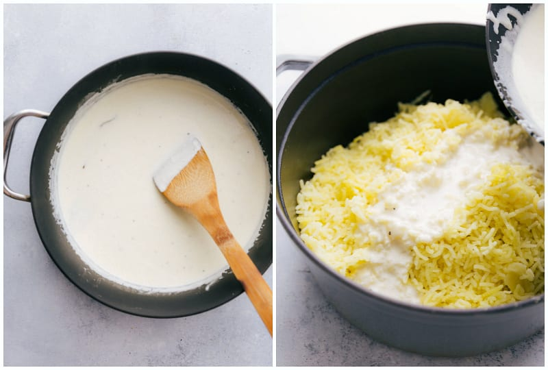 Process photos of making creamy mashed potatoes -- on the left is the garlic infused cream sauce and on the right the sauce is being poured over the potatoes