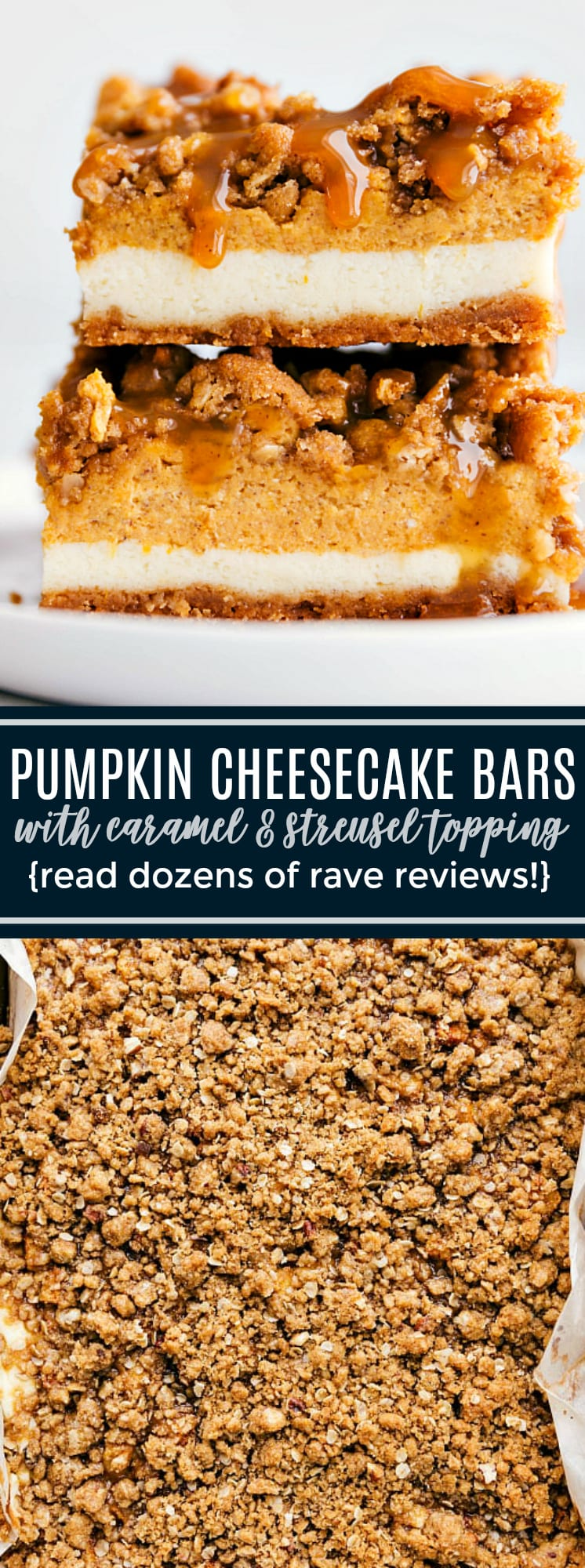 The BEST pumpkin cheesecake -- a delicious cinnamon graham cracker crust with two layers of cheesecake topped with an easy streusel and caramel sauce. These famous pumpkin cheesecake bars are sure to be a smash hit wherever you serve them -- just read the dozens of rave reviews! via chelseasmessyapron.com #pumpkin #cheesecake #bars #streusel #best #thanksgiving #dessert #easy #caramel #layered