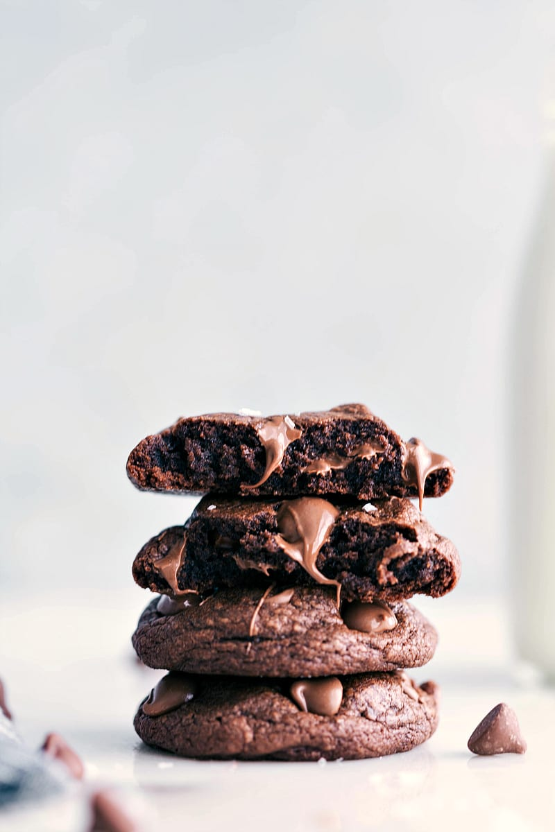 Up close photo of stack of brownie cookies