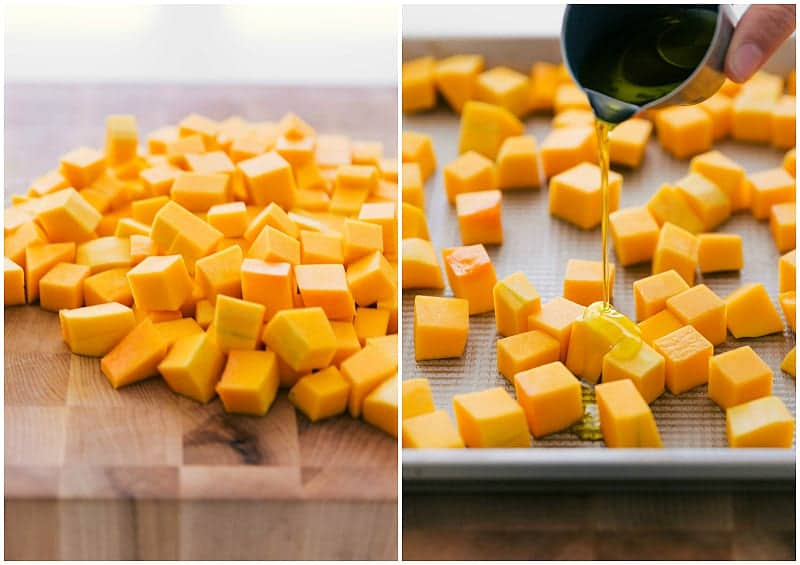 Process shots-- images of the squash being chopped and doused in olive oil
