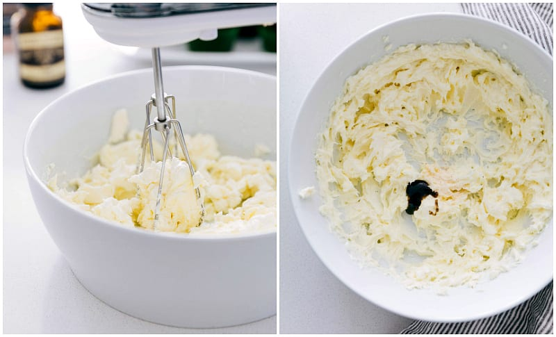 Process shots of making easy cream cheese frosting -- shows the butter and cream cheese being creamed together with pinch of salt and vanilla