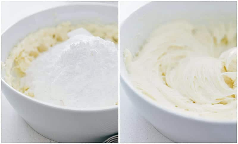 Process shots of making easy cream cheese frosting -- shows the powdered sugar being added and blended into the frosting